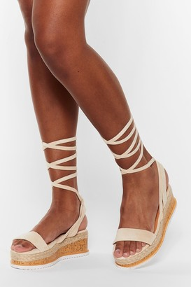 Nasty Gal Womens Draw to a Close Wrap Cork Sandals - Beige - 3
