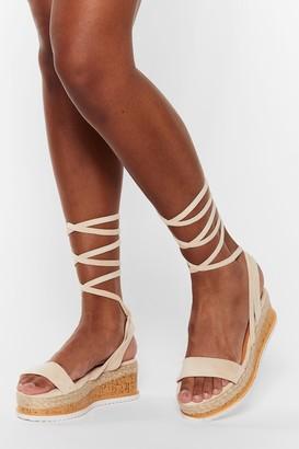 Nasty Gal Womens Draw to a Close Wrap Cork Sandals - Beige - 5, Beige