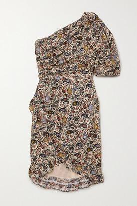 Etoile Isabel Marant Esthera One-sleeve Wrap-effect Paisley-print Cotton Mini Dress