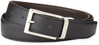 Ermenegildo Zegna Reversible Belt w/Polished Buckle, Black/Dark Brown