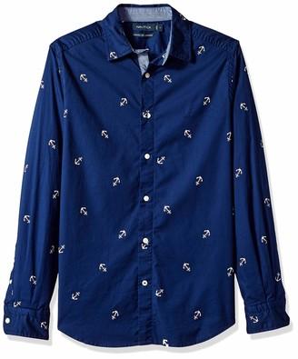 Nautica Men's Oxford Anchor Classic Fit Button Down Shirt