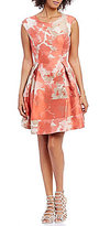 Vince Camuto Water Floral Jacquard Boat Neck Sleeveless Fit-and-Flare Dress