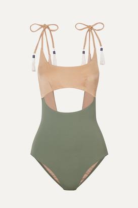 Emma Pake Giulia Tasseled Cutout Two-tone Swimsuit - Gold