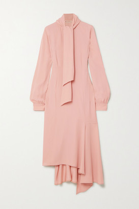 Marni Pussy-bow Asymmetric Crepe Dress - Pastel pink