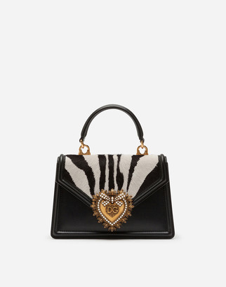 Dolce & Gabbana Medium Devotion Bag In Pony-Style Calfskin With Zebra Print