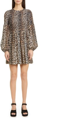 Ganni Leopard Print Long Sleeve Smocked Minidress