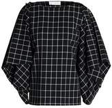 Robert Rodriguez Cold-Shoulder Checked Twill Top