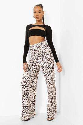 boohoo High Waist Leopard Slinky Wide Leg Trouser