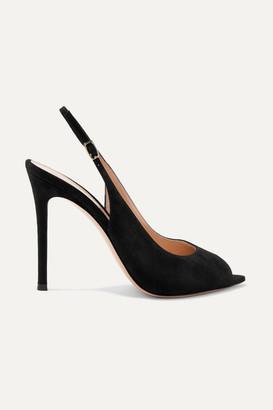 Gianvito Rossi Camnero 105 Suede Slingback Sandals - Black