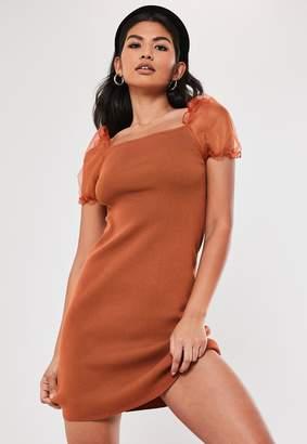 Missguided Rust Knitted Organza Puff Sleeve Mini Dress