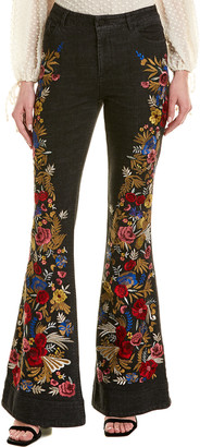 Alice + Olivia Kayleigh Embroidered Bell Bottom