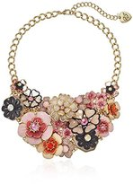 """Betsey Johnson Memoirs of Betsey"""" Mixed Flower Mesh Chain Statement Necklace, 16.5"""" + 3"""" Extender"""