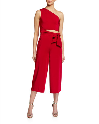 Love, Theia One-Shoulder Cropped Jersey Jumpsuit w/ Side Cutout