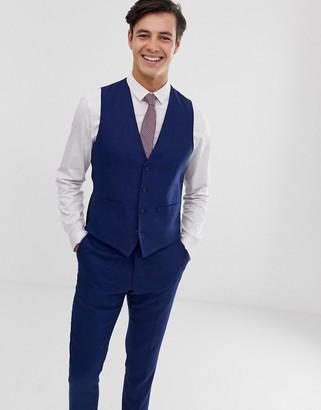 French Connection wedding slim fit plain linen suit vest-Blue