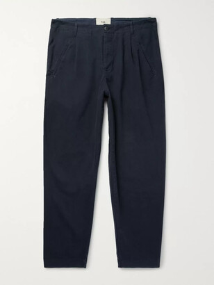 Folk Assembly Tapered Pleated Cotton-Canvas Trousers - Men - Blue