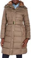 Cole Haan Belted Coat with Removable Faux Fur-Lined Hood