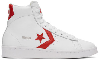 Converse White and Red Leather Pro Mid Sneakers