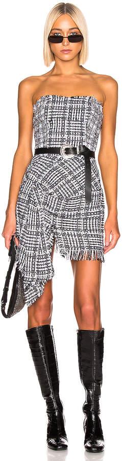 Faith Connexion Tweed Bustier Dress in Black & White   FWRD