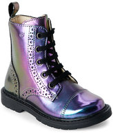 Naturino Girls) Iridescent Purple Brogue Lace-Up Boots