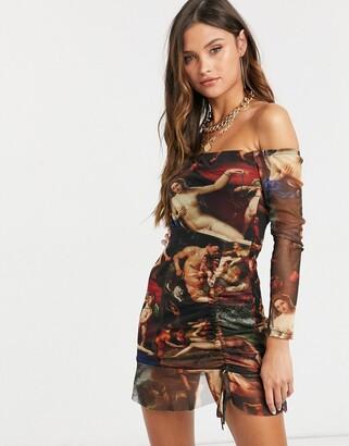 Femme Luxe off shoulder long sleeve mini dress in multi angelic print