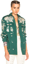 Roberto Cavalli Embroidered Jacket in Green,Floral.
