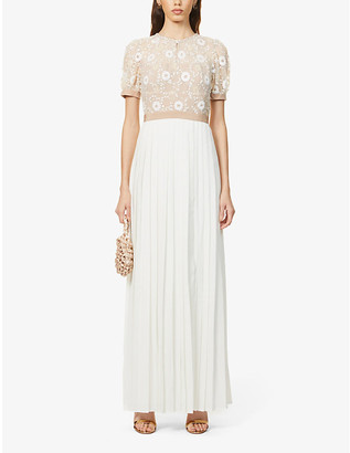 Self-Portrait Sequin-embellished pleated mesh and woven maxi dress