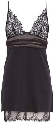 La Perla Agnese Lace-trimmed Crepe Slip Dress - Womens - Black
