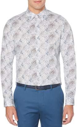 Perry Ellis Big Tall Floral-Print Stretch Button-Down Shirt