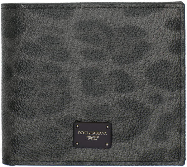 Dolce & Gabbana Grey and Black Leopard Logo Wallet