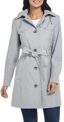 Gallery Petite Belted Rain Trench Coat