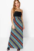 Boohoo Petite Saffron Aztec Bandeau Maxi Dress