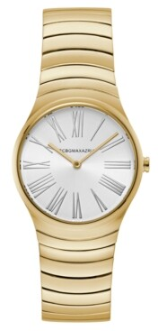 BCBGMAXAZRIA Ladies Round Goldtone Stainless Steel Bracelet Watch, 33mm