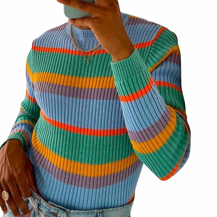 NATURAL FLOW Fair Trade Rainbow Wool Jumper Hippy Boho S M L XL 2XL 3XL 4XL 5XL