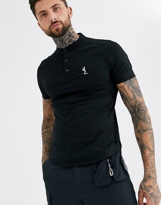 Religion grandad collar polo in black