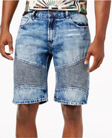 "Reason Men's 11"" Ripped Denim Moto Shorts"