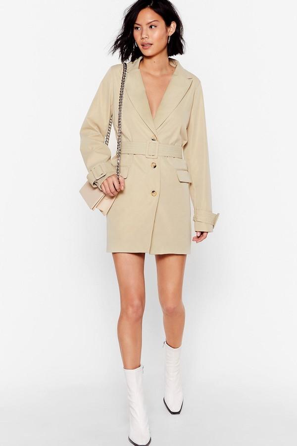 Nasty Gal Womens Game Changer Belted Blazer Dress - Beige - 4