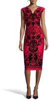 ECI Women's Flocked V-Neck Scuba Knit Dress