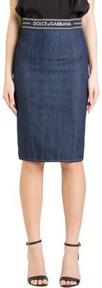 Dolce & Gabbana Denim Midi Skirt Wit Logo Elastic Waistband