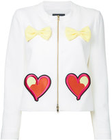 Moschino embroidered hearts bow applique jacket - women - Polyester/Other fibres - 42