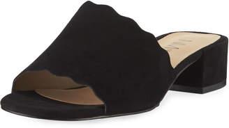 Neiman Marcus Howie Low-Heel Suede Slide Sandals, Black