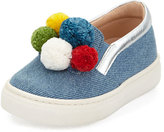 Aquazzura Pompom Denim Slip-On Sneaker, Blue, Toddler