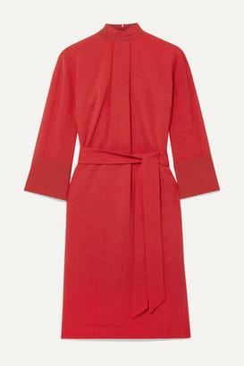 Cefinn Ada Belted Voile Dress - Crimson