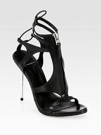 Brian Atwood Merritta Zip-Front Leather Sandals