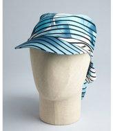 Hermes ocean blue printed silk cap with scarf