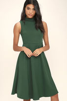 LuLu*s Make Your Pointe Dark Green Midi Dress