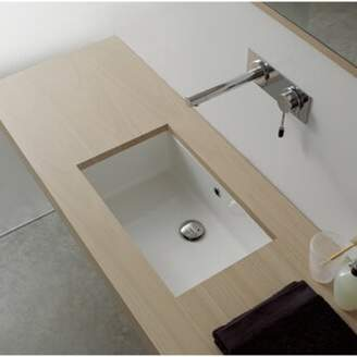 Nameeks Scarabeo by Miky Ceramic Rectangular Undermount Bathroom Sink with Overflow Scarabeo by