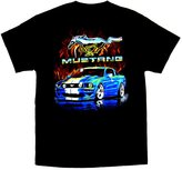 Joe Blow Ford Mustang T-shirt Blue Car With Flames-xxxl
