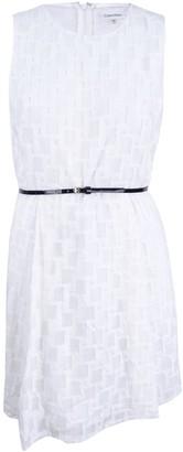 Calvin Klein Women's Sleeveless Textured Fabric Fit & Flare Dress with Belt at Waist