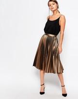 Closet London Closet Pleated Coated Midi Skirt