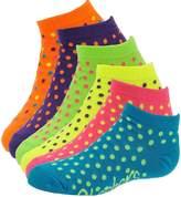 Skechers Girls' 6-Pack S101807 Low Cut Socks Bright Multi-Dots